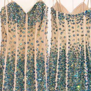 Angela & Alison Heart Shape Embellished Dress